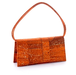 Artelusa Cork Clutch Pochette Handbag Orange/Gold Removable Strap