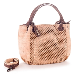 ARTELUSA Top-Handle Shoulder Bag 'Infinity' Two-Toned Perforated Removable Strap - Natural/Chocolate