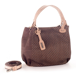 ARTELUSA Top-Handle Shoulder Bag 'Infinity' Two-Toned Perforated Removable Strap - Chocolate/Natural