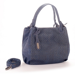 ARTELUSA Top-Handle Shoulder Bag 'Infinity' Two-Toned Perforated Removable Strap - Blue