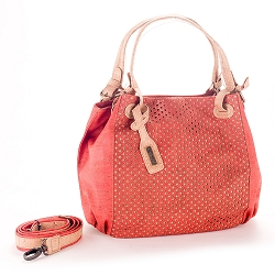 ARTELUSA Top-Handle Shoulder Bag 'Infinity' Two-Toned Perforated Removable Strap - Coral/Natural