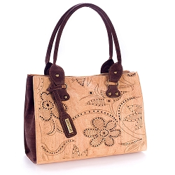 ARTELUSA Top Handle Handbag Bicolor Floral Pattern