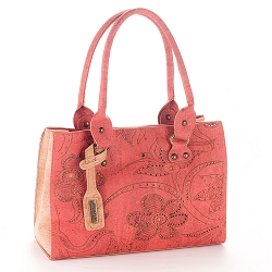 ARTELUSA Top Handle Handbag Bicolor Coral/Natural Floral Pattern