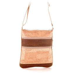 ARTELUSA Crossbody Bag Natural/Chocolate with Zips Removable/Adjustable Strap