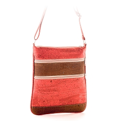 ARTELUSA Crossbody Bag Coral/Chocolate with Zips Adjustable Strap