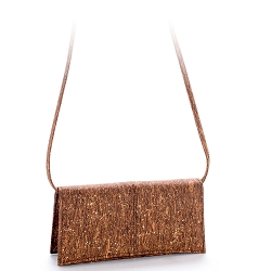 ARTELUSA Clutch Pochette Handbag Brown/Gold Removable Strap