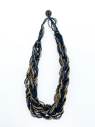 Black and Gold Multistranded Bead Necklace - Handmade in Bali