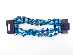 Elasticated Bracelet with Wooden Clasp - Blue - Handmade in Bali