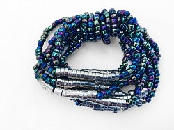 Elasticated Multicolored Bracelet with Silver Beads Accent - Handmade in Bali