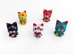 Miniature Cats Figurines - Handpainted Wood - Handmade in Bali