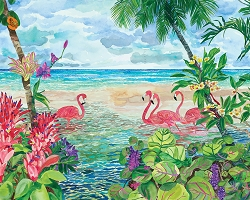 Flamingos On The Beach Jigsaw Puzzle 1000 pieces - Original Artwork 30