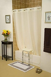 Simplicity Hookless Split Shower Curtain for All Tub Transfer Benches - Without Window - Beige 71