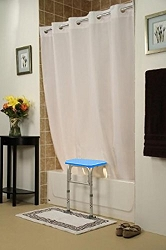 "BenchBuddy Simplicity Hookless Shower Curtain 71""x72"" - For All Tub Transfer Benches - White"