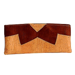 CORX Clutch Purse w/Removable Shoulder Strap Brown Bow Pattern