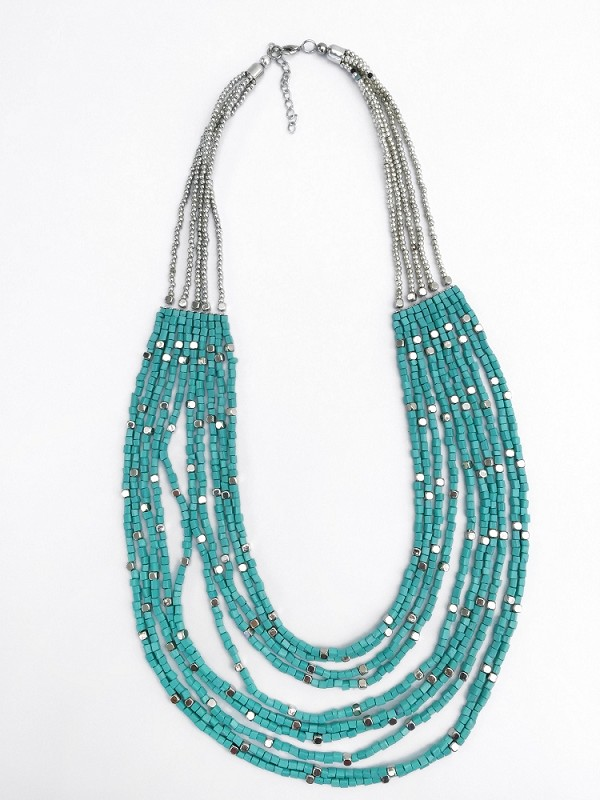 Multistrand Turquoise and Silver Necklace Handmade in Bali