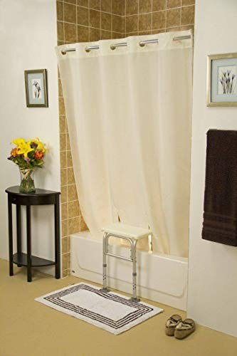 "Simplicity Hookless Split Shower Curtain for All Tub Transfer Benches - Without Window - Beige 71"" x 72"""