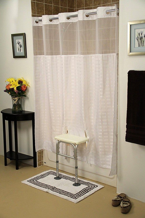 "Whitaker Split Shower Curtain for All Bath Transfer Benches  - With Window - White - 71"" x 72"""